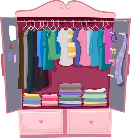 Illustrazione di un armadio rosa pieno di vestiti da donna Vettoriali
