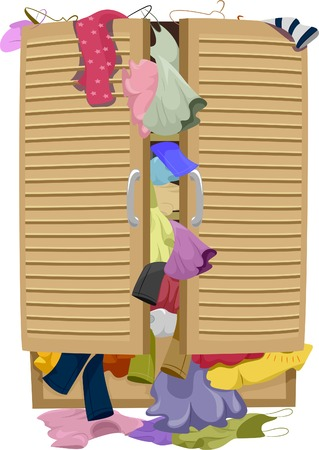 closet: Illustration of a Closet Overflowing with Clothes