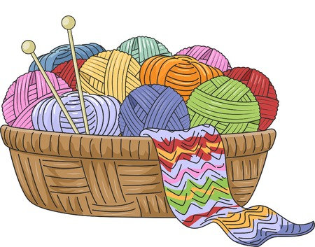 Illustration of a Wicker Basket Full of Knitting Materials