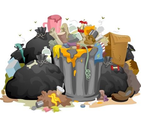 Illustrazione di un mucchio di decomposizione dell'immondizia lasciati in giro