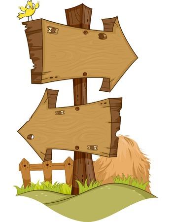 hay bales: Illustration Featuring Rustic Arrow Signs