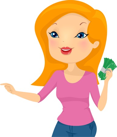 wad: Illustration of a Girl Holding a Wad of Cash Pointing to the Right