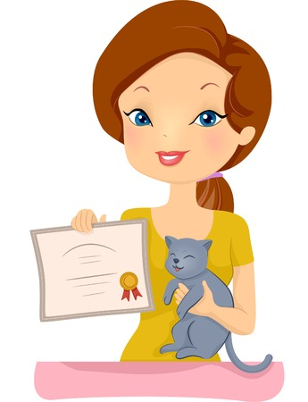 awarded: Illustration of a Proud Woman Holding the Certificate Awarded to Her Pet Cat  Illustration