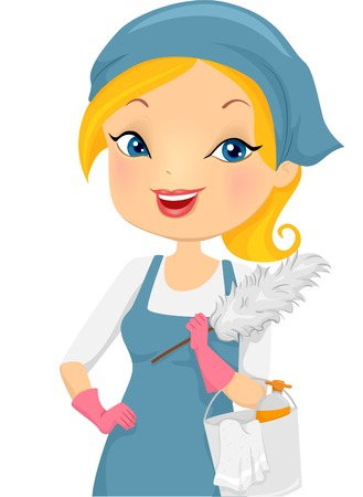 Illustration of a Girl Providing Housecleaning Service Vector