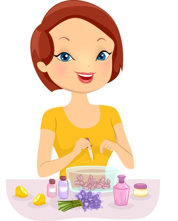 cologne: Illustration of a Girl Making Homemade Perfume
