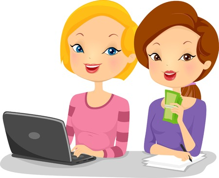 Illustration of Female Business Partners Sitting Side by Side in Front of a Computer Illustration