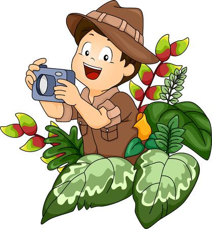 safari cartoon: Illustration of a Little Boy in a Safari Outfit Holding a Camera