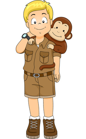 Illustration of a Boy in a Safari Outfit with a Monkey on His Back Vector