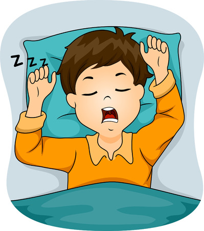Illustration of a Boy Snoring While Sleeping Vector