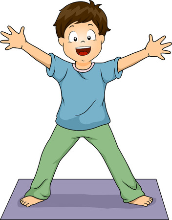 Illustration of a Young Boy Doing the Standing Starfish Yoga Pose Vector