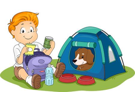 그의 애완견과 캠핑하는 아이의 그림