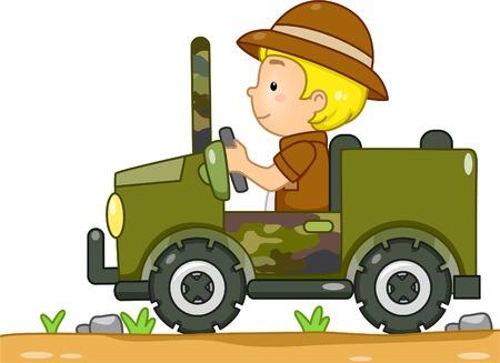 迷彩ジープ運転サファリ服で男の子のイラスト  イラスト・ベクター素材