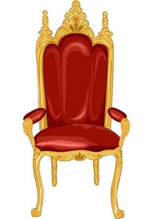 Illustrazione con una sedia reale in rosso e oro