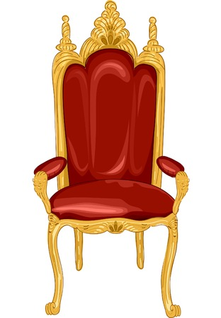 Illustration Featuring a Royal Chair in Red and Gold