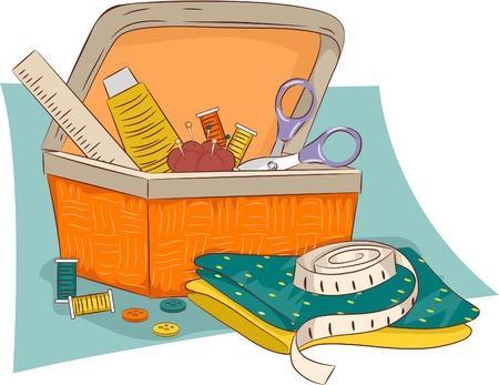 kit de costura: Ilustración de una cesta de mimbre que contiene materiales de costura Vectores