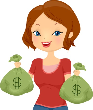 Illustration of a Pretty Girl Carrying Cash Bags Stock Vector - 29410255