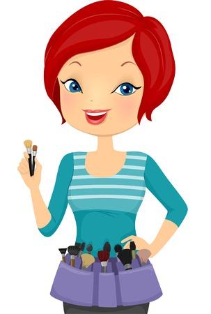 make up artist: Illustration of a Female Make Up Artist Wearing a Make Up Belt