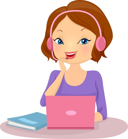 Illustration of a Female Tutor Teaching a Foreign Language Online Çizim