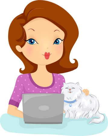 pet services: Illustration of a Woman Checking the Website of a Shop That Provides Pet Services