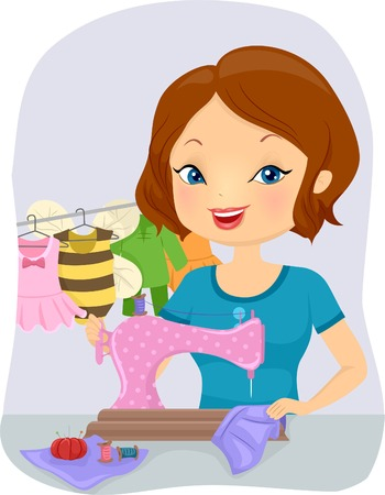 seamstress: Illustration of a Pretty Woman Sewing Baby Costumes