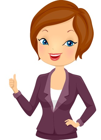 formal attire: Illustration of a Girl in Corporate Attire Giving a Thumbs Up Illustration