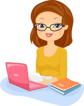 author: Illustration of a Female Editor in Glasses Reading Documents
