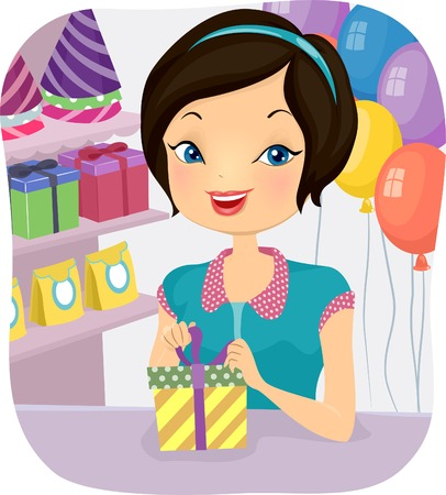balloon woman: Illustration of a Female Shop Attendant at a Store That Sells Party Supplies Illustration
