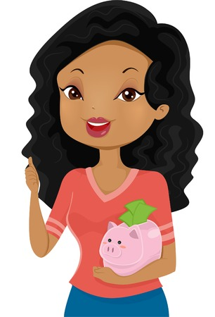 cradling: Illustration of a Girl Giving a Thumbs Up While Cradling a Piggy Bank