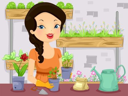 vertical garden: Illustration of a Girl Tending to Her Vertical Garden