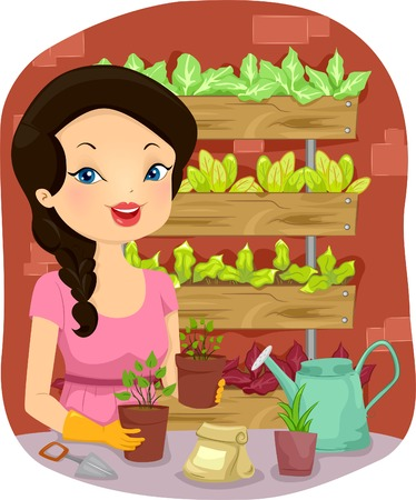 tending: Illustration of a Girl Tending to Her Vertical Garden Mostly Composed of Vegetables Illustration