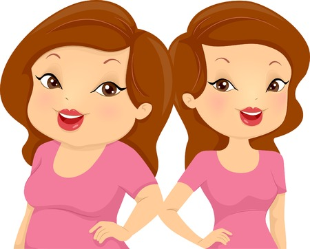 Illustration Comparing a Chubby Girl and a Skinny One