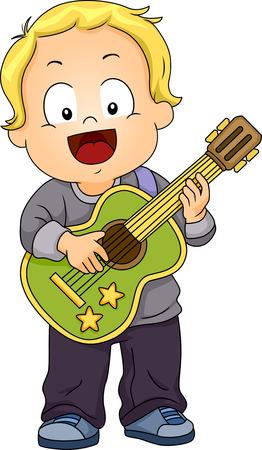 cliparts: Illustratie van een jongen spelen met een stuk speelgoed gitaar