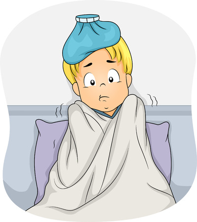 shivering: Illustration of a Boy Lying in Bed Due to Fever Illustration