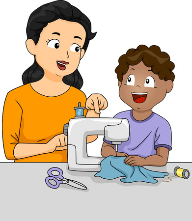 tailoring: Illustration of a Teacher Teaching a Male Student How to Sew
