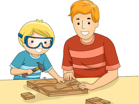 safety goggles: Illustration of a Father and Son Bonding Over a Woodworking Project
