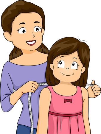 her: Illustration of a Mother Measuring the Shoulders of Her Daughter