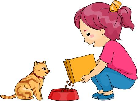 Illustrazione di una bambina Feeding Her Cat