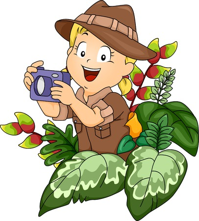 Illustration of a Little Girl in a Safari Outfit Holding a Camera Vector