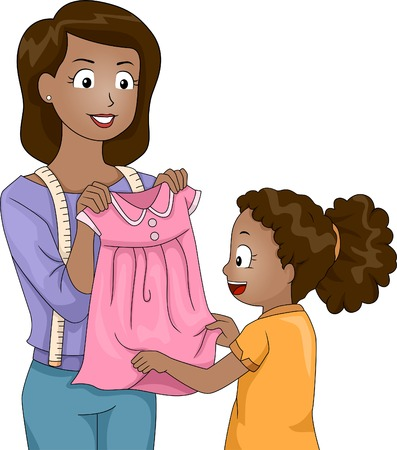 Illustration of a Mother Presenting a Dress She Has Sewn Herself to Her Daughter Vector