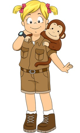 monkey clip: Illustration of a Girl in a Safari Outfit with a Monkey on Her Back