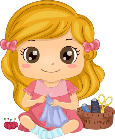 Illustration of a Cute Little Girl Sewing a Piece of Fabric Illustration