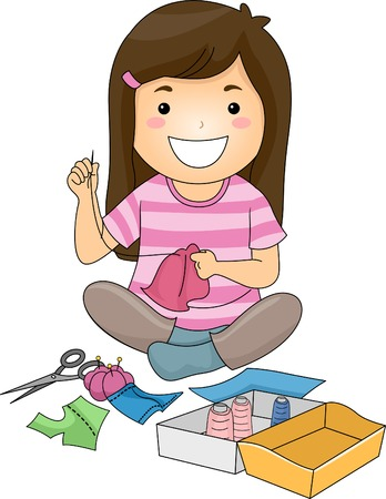 Illustration of a Cute Little Girl Sewing a Piece of Fabric Ilustração