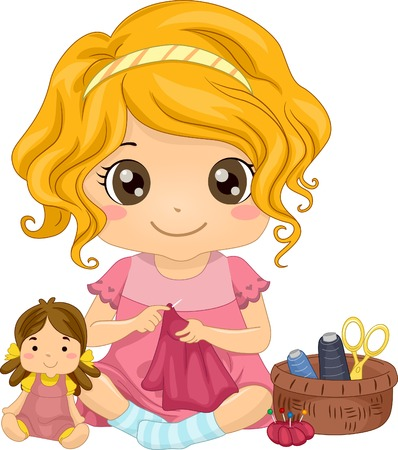 Illustration of a Cute Little Girl Sewing a Dress for Her Doll Çizim