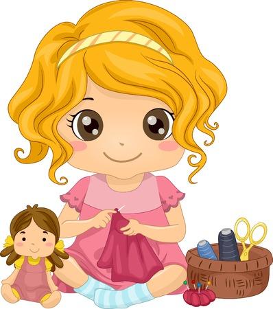 kit de costura: Ilustración de una linda niña de coser un vestido para su muñeca
