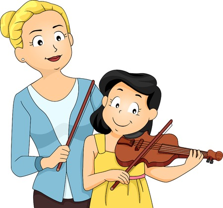Illustration of a Woman Teaching a Young Girl How to Play the Violin Vector