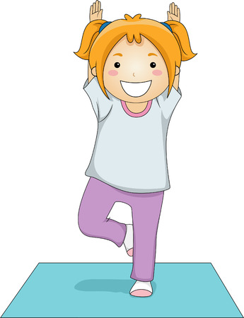 Illustration of a Young Girl Doing a Tree Yoga Pose Vector