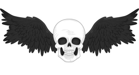 tats: Illustration of a Tattoo Design Featurng a Skull with Black Wings