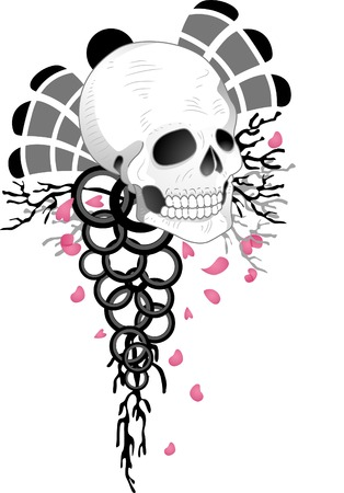 tats: Illustration of a Tattoo Design Featuring a Skull with Rings Dangling Below