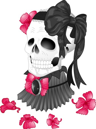 morbid: Illustration of a Tattoo Design Featuring a Skull Wearing a Victorian High Neck Collar