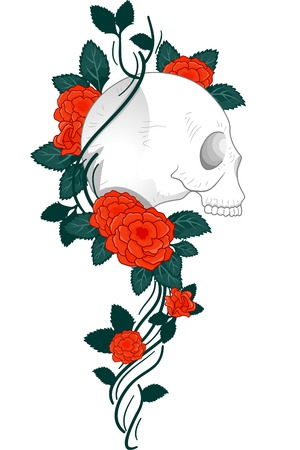 Illustration of a Tattoo Design Featuring a Skull with Vines and Roses Wrapped Around it Vector